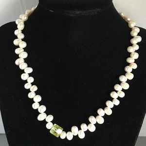 Jewelry - Briolette pearls, 9 mm green CZ & sterling clasp